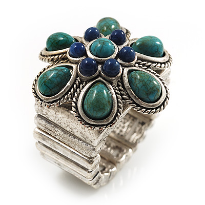 Turquoise Stone Flower Stretch Ring (Antique Silver)
