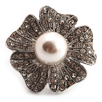 Oversized Diamante Pearl Daisy Cocktail Ring (Silver Tone Metal) - 4cm Diameter