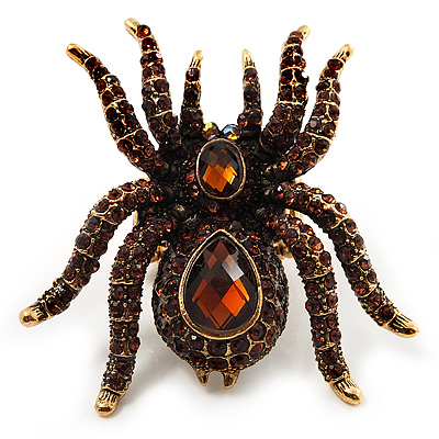 Oversized Amber Crystal Spider Stretch Cocktail Ring (Antique Gold  Tone)