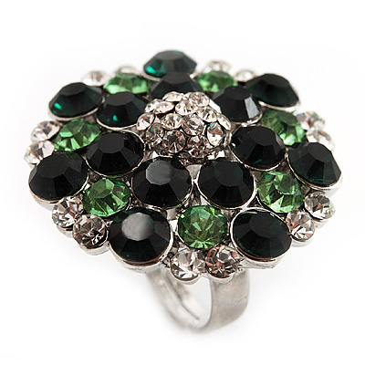 Silver Tone Grass/Emerald Green Diamante Cocktail Ring (Adjustable Size 7/8)