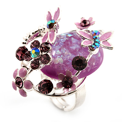 Exquisite Flower And Butterfly Cocktail Ring (Gold And Olive Green) MRqnrWHfcx