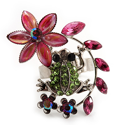 Funky Green Crystal Frog With Flowers Ring (Silver Metal Finish) - Adjustable Size 7/8