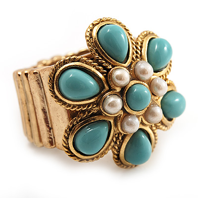 Turquoise Style Flower Stretch Ring (Gold Tone Metal) - main view