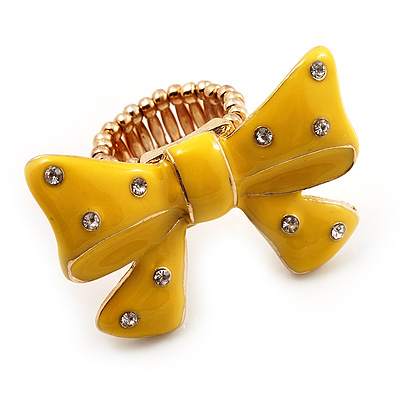 Large Bright Yellow Enamel Crystal Bow Stretch Ring (Size 7-9) - main view