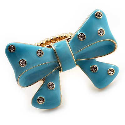 Large Bright Blue Enamel Crystal Bow Stretch Ring (Size 7-9)