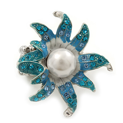 Aqua/ Light Blue Enamel, Crystal, Pearl 'Calla Lily' Flex Ring In Rhodium Plating - Size 7/8