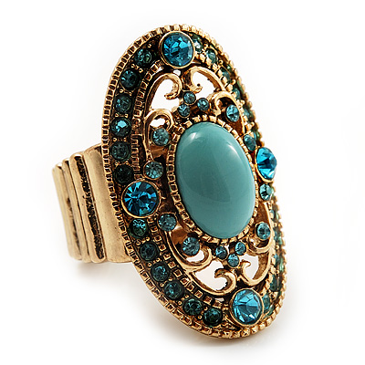 Oval Victorian Turquoise Coloured Acrylic Bead, Crystal Flex Ring in Gold Plating - Size 7/9