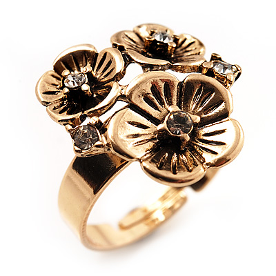 Delicate Crystal Flower Ring (Antique Gold Finish) - Size 7/8