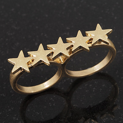 Gold Plated Double Finger 'Star' Ring - Size 7&8