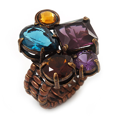 Multicoloured Glass Bead Cluster Flex Ring In Bronze Metal - 30mm Across - Size 7/8