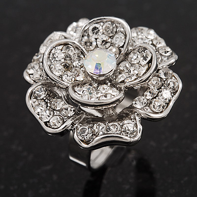 Large Layered Diamante 'Daisy' Ring In Rhodium Plated Metal (Adjustable) - 2.5cm Diameter