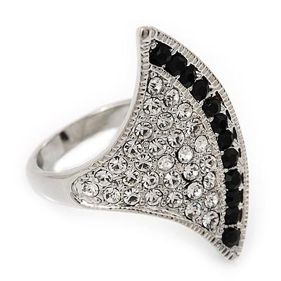 Clear/Black Swarovski Crystal Geometric Ring In Rhodium Plated Metal - 3cm Length