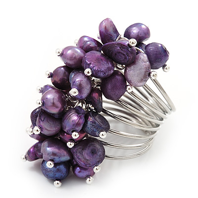 Wide Chunky Purple Freshwater Pearl Ring (Silver Plated Metal) - main view