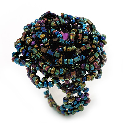 Peacock Coloured Glass Bead Flower Stretch Ring - main view
