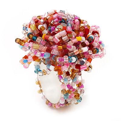 Multicoloured Glass Bead Flower Stretch Ring (Pink, Red & Light Blue)