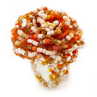Large Multicoloured Glass Bead Flower Stretch Ring (Orange, White &amp; Gold)
