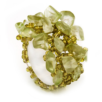 Olive Green Semiprecious Chip Cluster Flex Ring
