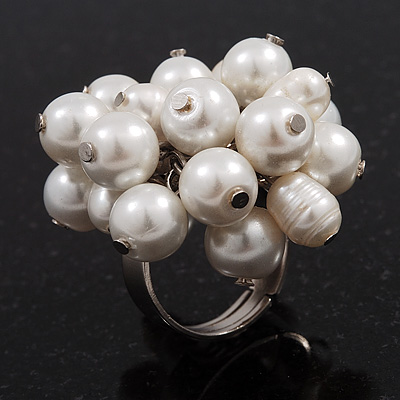 Freshwater Pearl &amp; Bead Cluster Silver Tone Ring (White) - Adjustable