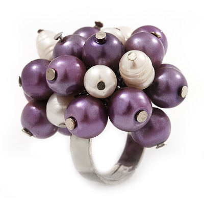 Freshwater Pearl & Bead Cluster Silver Tone Ring (Purple & Light Cream) - Adjustable