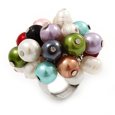 Freshwater Pearl &amp; Bead Cluster Silver Tone Ring (Multicoloured) - Adjustable
