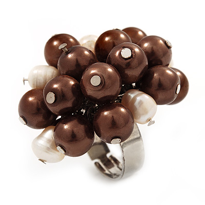 Freshwater Pearl &amp; Bead Cluster Silver Tone Ring (Chocolate &amp; Ivory) - Adjustable