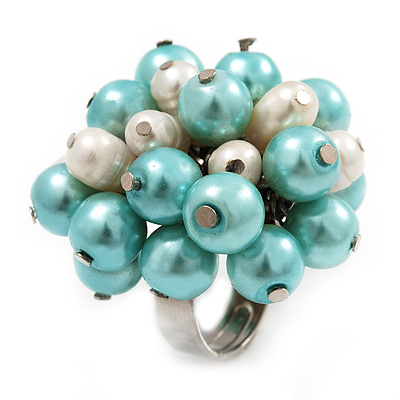 Freshwater Pearl &amp; Bead Cluster Silver Tone Ring (Light Blue &amp; Ivory) - Adjustable