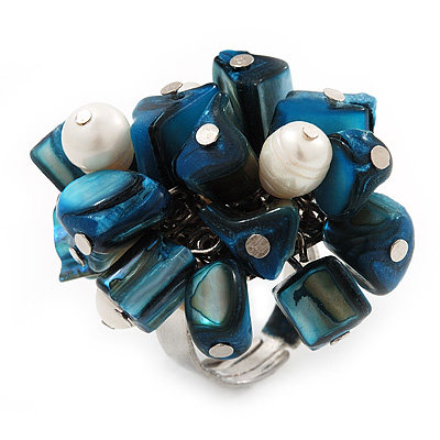 Freshwater Pearl & Shell Nugget Cluster Silver Tone Ring (Teal Blue & White) - Adjustable - main view