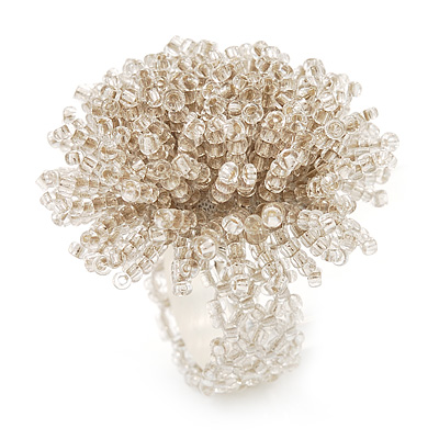 Large White Transparent Glass Bead Flower Stretch Ring