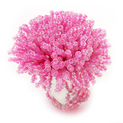 Light Pink Glass Bead Flower Stretch Ring