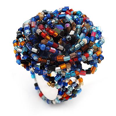 Large Multicoloured Glass Bead Flower Stretch Ring (Blue, Red, Black & Orange)
