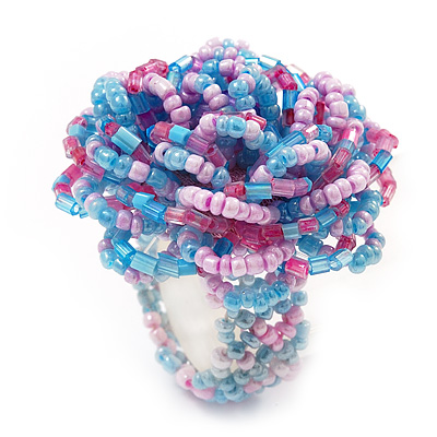 Large Multicoloured Glass Bead Flower Stretch Ring (Light Blue & Pink)
