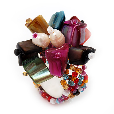 Multicoloured Shell Chip &amp; Freshwater Pearl Cluster Flex Ring