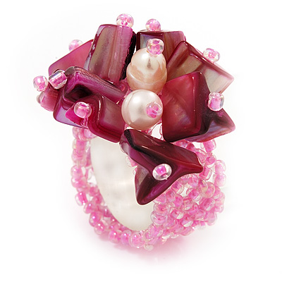 Pink Shell Chip &amp; Freshwater Pearl Cluster Flex Ring