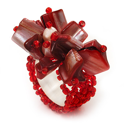 Coral Red Shell Chip &amp; Freshwater Pearl Cluster Flex Ring