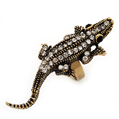 Burn Gold Diamante Crocodile Ring - Adjustable - main view