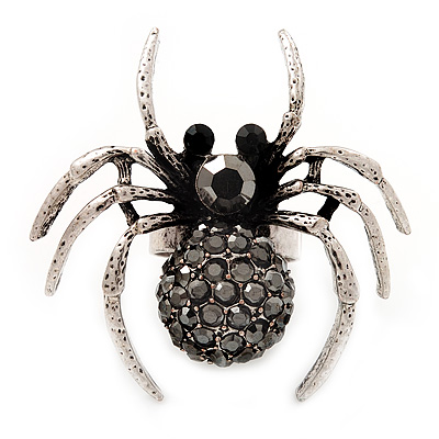 Stunning Black Crystal Spider Cocktail Ring in Burnt Silver Plating - main view