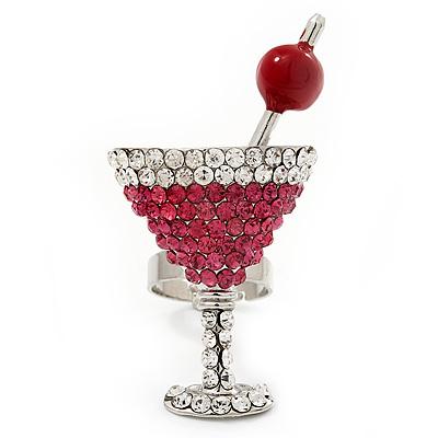 Large Dazzling Crystal 'Cocktail' Ring In Rhodium Plating - Adjustable