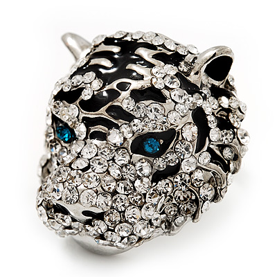 Large Diamante Tiger with Blue Eyes Ring In Rhodium Plating - Adjustable