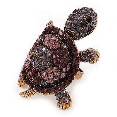 Large Purple Crystal Turtle Ring In Burn Gold Metal - Adjustable