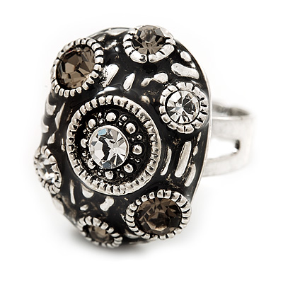 Dome Shaped Diamante Fancy Ring In Burn Silver Metal