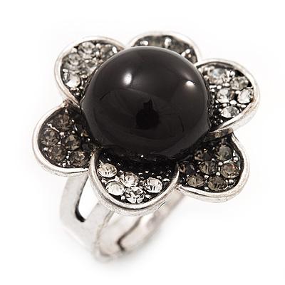 Daisy Flower Diamante Fancy Ring In Burn Silver Metal