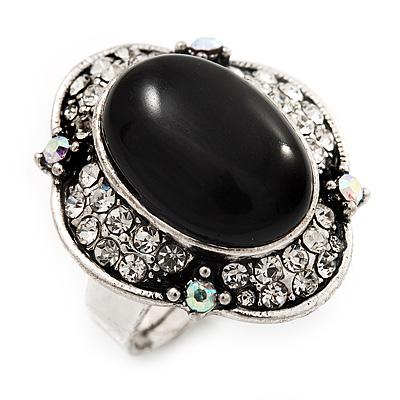 Vintage Oval Diamante Fancy Ring In Burn Silver Metal