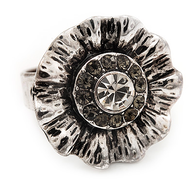 Floral Diamante Fancy Ring In Burn Silver Metal - main view