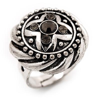Round Diamante Fancy Ring In Burn Silver Metal