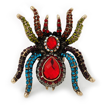 Oversized Multicoloured Crystal Spider Cocktail Ring (Antique Gold Finish) - Adjustable - main view