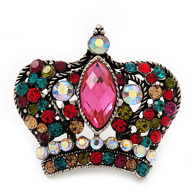Large Multicoloured Diamante 'Crown' Ring In Burn Silver Metal - Adjustable (Size 7/9)