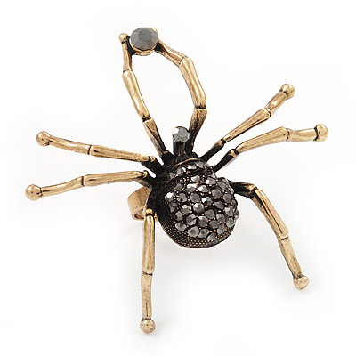 Large Black Diamante 'Spider' Ring In Antique Gold Metal - 6.5cm Diameter - Adjustable 7/9 Size