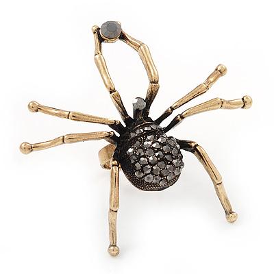 Large Black Diamante 'Spider' Ring In Antique Gold Metal - 6.5cm Diameter - Adjustable 7/9 Size