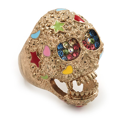 Vintage Textured Mulicoloured 'Skull' Ring In Matte Gold Metal - main view