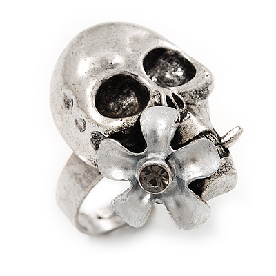 Vintage &#039;Skull &amp; Flower&#039; Ring In Burn Silver Metal (Adjustable Size 7/9) - 3cm Length